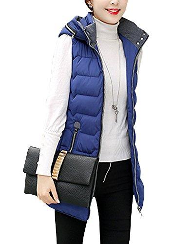 con de Mezclilla Mangas Azul Mujer Acolchado Abrigos Capucha Pluma Chaleco Invierno Sin a7SqxIFU