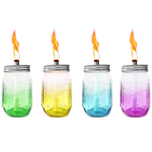 Mason Jar Tabletop Torches,4 Pack Colorful Glass Jar,Stainless Steel Lids,Long Life Fiberglass Wicks and Caps,Outdoor Oil Lamp Lights for Patio Garden Camping Decor (Caps Mason For Solar Jars)
