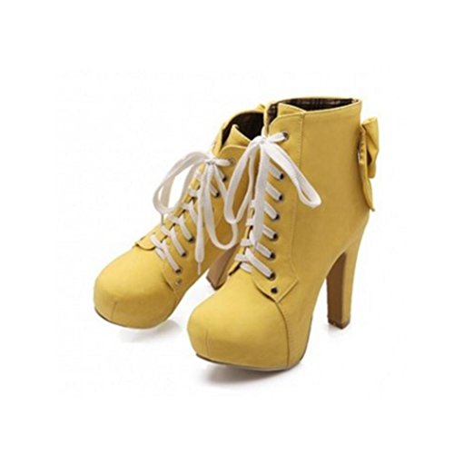testa sposa stivaletti QPYC stivali prima cravatta yellow ruvida Donna sposa 31 small donna con code damigelle grande 43 scarpa scarpe da da tonda taiwan impermeabile taglia FF7wqt
