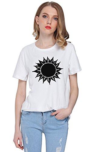 So'each Women's Sun Flower Graphic Printed Tee T-shirt Tops