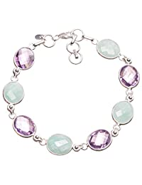 """StarGems(tm) Natural Blue Aquamarine and Amethyst Handmade Vintage 925 Sterling Silver Bracelet 7-7 3/4"""""""