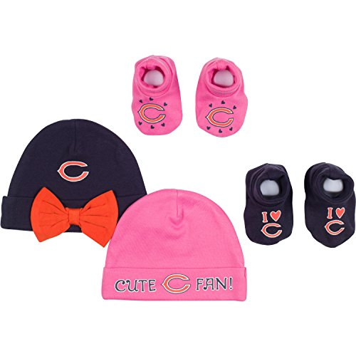 NFL Chicago Bears 2 Baby Caps and 2 Booties Set, 0-6 Months, Navy/Pink