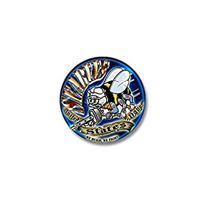 """CafePress USN Seabees We Build We Fight Blue Mini Button 1"""" Round Mini Button by CafePress"""