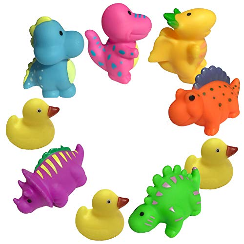 - No Toxic Baby Bath Toys for 12-18 Month Toddlers (9 PCS) Soft Water Floating Dinosaur Bath Time Toy Games Multicolor 3.5