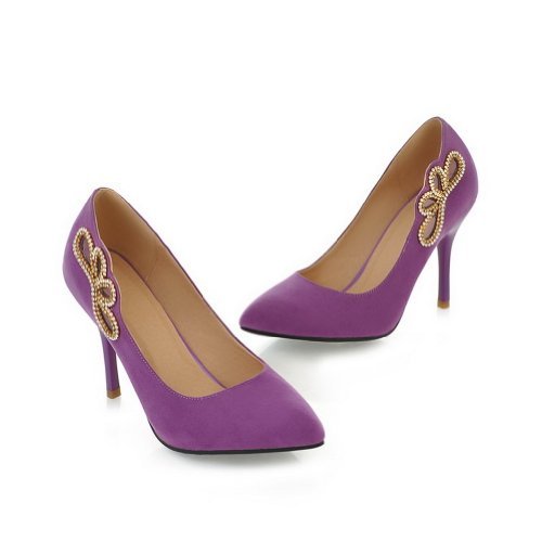 with 3 PU Closed Toe Suede Pumps Diamond Glass Heel Purple 5 High VogueZone009 Stiletto Womens UK Pointed Solid Frosted 4wzq7Bx1a