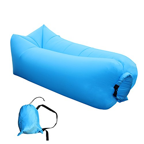 Inflatable Lounger Couch Hammock Air Sofa, Portable Lazy Bag Beach Chair for Camping Picnic & Holiday Festival (Scoop Neck Love Square)