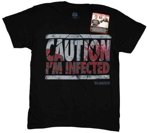 Walking Dead The Caution I'm Infected Flip-Up Reversible Mask Adult T-Shirt (Small, (Glenn Walking Dead Halloween Costume)
