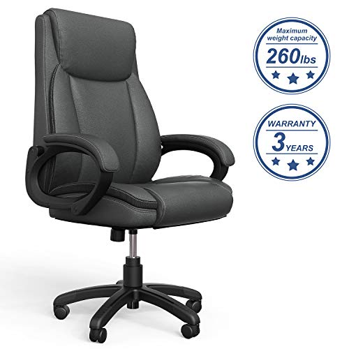 Mysuntown Executive Office Chair, Bonded PU Leather Swivel Chair for Big and Tall Users, Ergonomic High Back with Lumbar ()