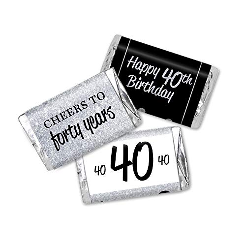 (40th Birthday Favor Stickers, Miniatures Candy Bar Wrapper Labels, Silver Glitter and Black, 54 Total)