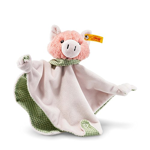 (Steiff Happy Farm Piggilee Pig Comforter with Rattle, Pink/Green)