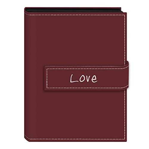 Pioneer Photo Albums 36-Pocket 5 by 7-Inch Embroidered ''Love'' Strap Sewn Leatherette Cover Photo Album, Mini, Burgundy by Pioneer Photo Albums
