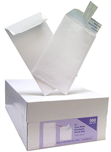 #7 Coin White Envelope for Small Parts, Cash, Jewelry Etc, 500 Per Box (500 Peel & Seal) by Next Day Labels