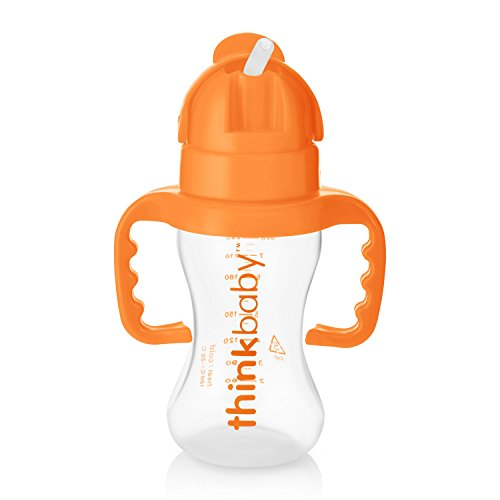 Thinkbaby Thinkster Straw Bottle, 9 Ounce, Natural/Orange