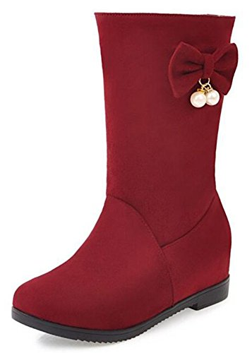Calf Faux With Retro Heels Boots Bows Red Suede Hidden Womens IDIFU Mid Riding tYqU66