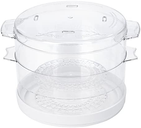 Oster Double Tiered Food Steamer, 5 Quart, White (CKSTSTMD5-W-015)    Make healthy, delicious meals quickly and easily with the Oster Double Tiered Food Steamer. This steamer cooks meat, fish, poultry, and vegetables with steam to retain nutrients while eliminating the need for calorie-rich cooking oils, sprays, and butter. Featuring a double-tiered design with two 5-quart bowls, the food steamer lets you simultaneously prepare up to two types of food separately. A 60-minute auto shut-off feature and a power indicator light make operating the steamer easy, while the dishwasher-safe components mean you can clean up in a snap. Ideal for smaller spaces, the food steamer's bowls nest for compact storage.