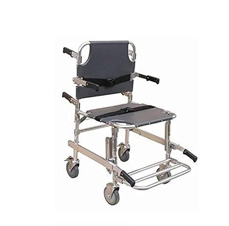 SXRNN Silla de Ruedas Plegable Trolley Ligera Silla de la Escalera Emergencia médica Transferencia de Pacientes con apoyabrazos Doble Freno: Amazon.es: ...