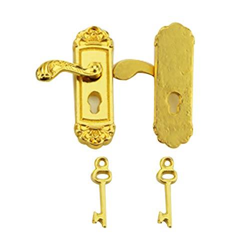 Delicate Dollhouse Fancy Mini Door Lock Door Knobs Vivid Toy Model with Long Door Handle Dollhouse Miniature Accessorie Golden (1 Pair) (Dollhouse Bedroom Miniature Sets)