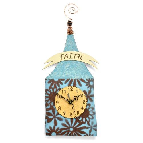 Duane Scherer Faith House Wall Clock, Blue/Brown by Duane Scherer Studio