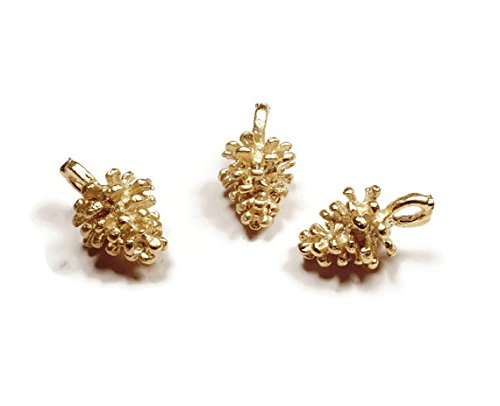 Foxy Findings Naturals Collection Tiny Matte Finish 24k Gold Plated Brass Pinecone Charm 11mm Set of 5 ()