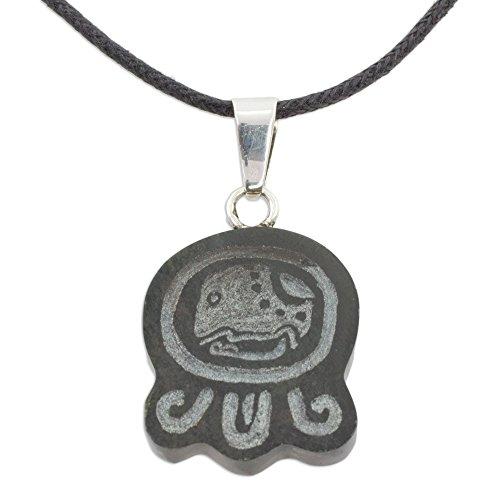 - NOVICA Jade .925 Sterling Silver Leather Pendant Necklace, 18