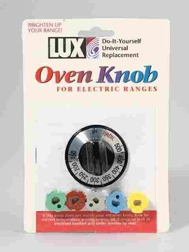 Lux Replacement Oven Knob Universal - Fits Most Electric Ovens Black