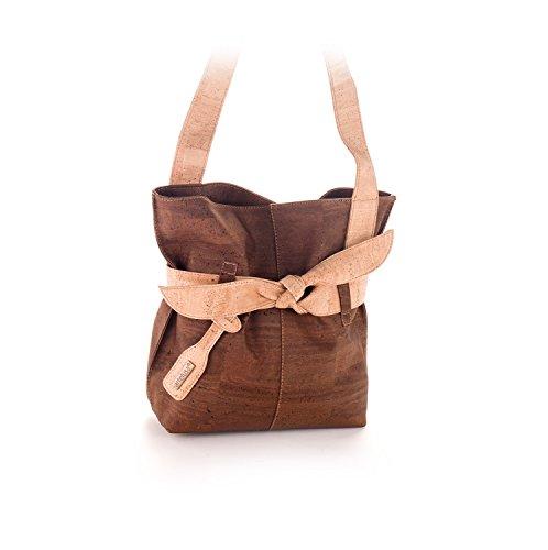 Artelusa Cork Big Bow Shoulder Handbag Two Tone Chocolate/Natural Eco-Friendly Handmade in Portugal