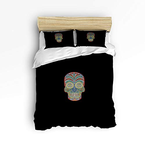 GreaBen Full Size Twill Plush Duvet Cover Set Kids Bedding Sets for Girls Boys,Colorful Skull Head Black Pattern Bed Set,Include 1 Comforter Cover with 2 Pillow Cases ()