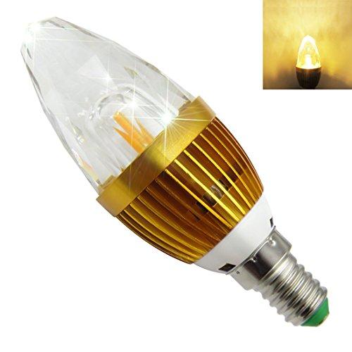 Pack of 2, E14 LED Light Bulb Dimmable 85V-265V 6W 540Lumens COB LED SMD K9 Crystal diamond lamp chandelier Warm White 3000K (Refraction 9 Bulb)