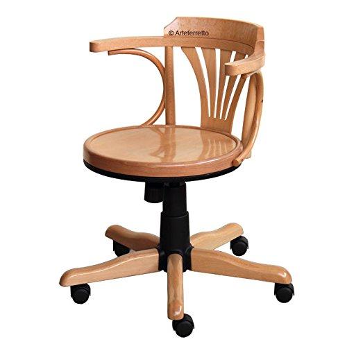 Bürostuhl Aus Holz drehstuhl holzsitz mit rollen amazon de küche haushalt