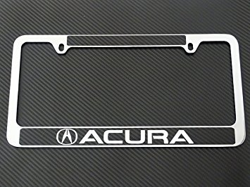 Acura license plate frame chrome metal, carbon fiber details, chrome text