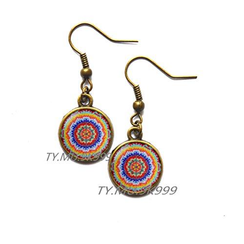 Yao0dianxku Mexican Ornamental,Mexican art Stud Earrings, Mexican Folk Art, Mexican Jewelry, Mexican Jewelry,Boho ethnic Earrings.Y214 (1)