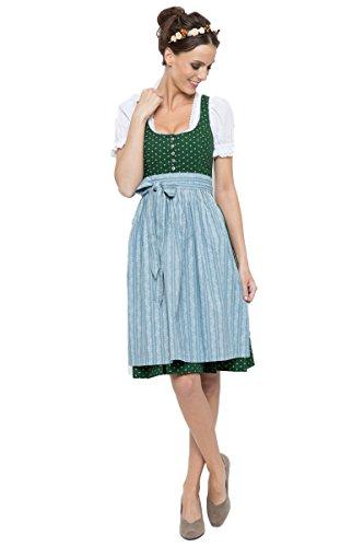 Almsach Damen Midi Dirndl Irmi grün/hellblau D010250 38