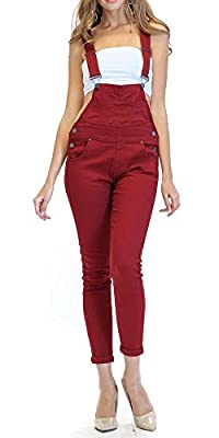TwiinSisters Women's Solid Color Slim Fitted Skinny Overalls with Comfort Stretch