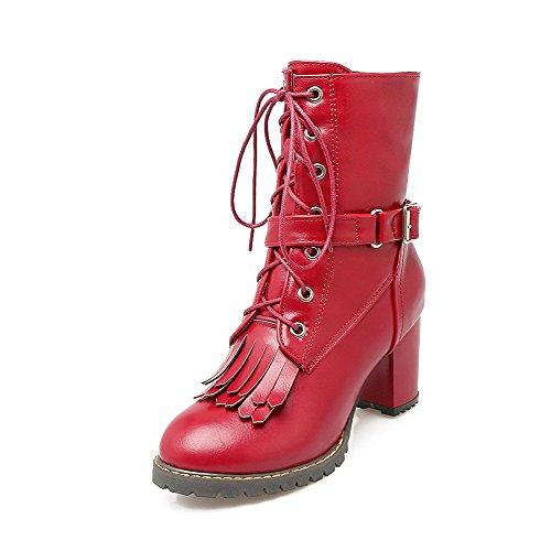 AllhqFashion Damen Mittler Absatz PU Rein Reißverschluss Rund Zehe Stiefel, Rot, 43