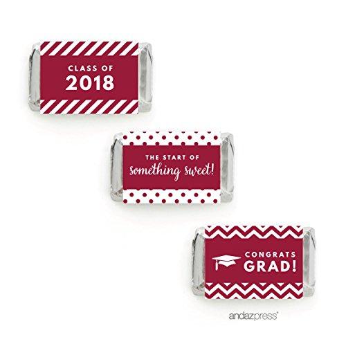 Andaz Press Chocolate Minis Labels Trio, Fits Hershey's Miniatures, Graduation 2019, Burgundy, 36-Pack