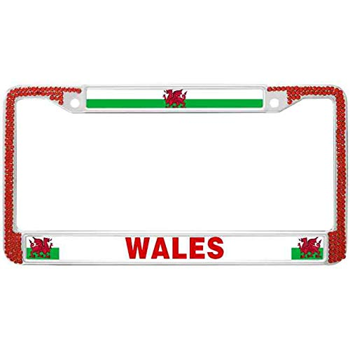 WangÿCouBing2 Shiny Metal Chrome License Plate Cover Wales Red Crystal Rhinestone License Plate Frame Wales Flag Auto License Plate Frame for Standard Size US Car