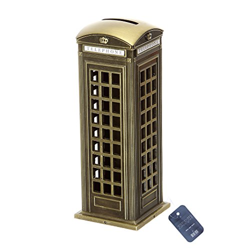 ZOVIE Liberty Leaning Tower Triumphal Arch Netherlandish Windmills Pyramid Twin Tower BurjAl-Arab Metal World Building Model Home Desk Decoration (Telephone Booth)