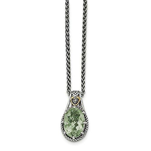 14 carats argent fin avec Quartz vert et péridot JewelryWeb-Pendentif
