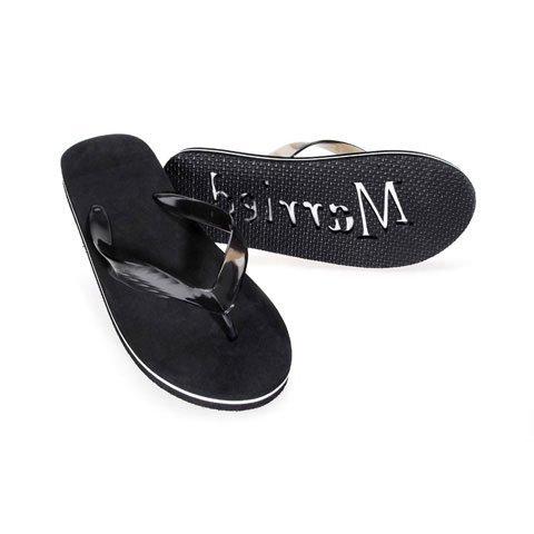 (Just Married Flip Flops, XLarge, Black)