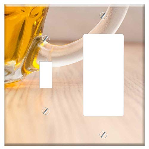1-Toggle 1-Rocker/GFCI Combination Wall Plate Cover - Czech Beer Glass Alcohol Pub Lager Drink Foam ()
