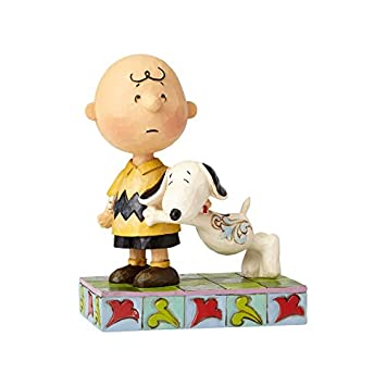 Enesco Peanuts by Jim Shore Charlie Brown and Snoopy, 5.25 Stone Resin Figurine, Multicolor