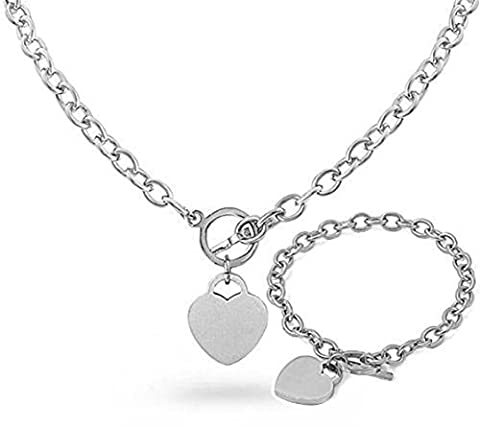 HEART CHARM Stainless Steel Silver Link Toggle Lock 16in or 18in NECKLACE & 7.5in BRACELET Set (16 (Heart Toggle Chain Necklace)
