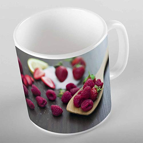 - Else Brown Wood on Spoon Red Raspberry Gray Wood 3d Print Gift Ceramic Drinking Water Tea Bear Coffee Cup Mug Kitchen