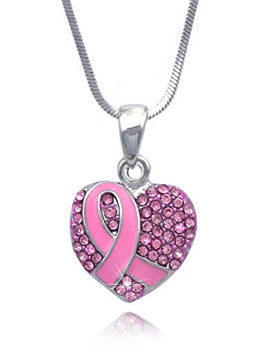 cocojewelry Boxing Glove Heart Pink Ribbon Fight Against Breast Cancer Pendant Necklace (Pink Pave Heart) - Breast Cancer Pink Heart