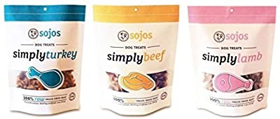 Sojos 100% Raw Freeze-Dried Meat Treats For Dogs 3 Flavor Variety Bundle: (1) Sojos Simply Beef 100% Raw Freeze-Dried Beef Treats, (1) Sojos Simply Lamb 100% Raw Freeze-Dried Lamb Treats, and (1) Sojos Simply Turkey 100% Raw Freeze-Dried Turkey Treats, 4