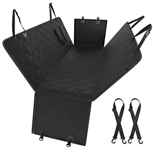 Oak Leaf Car Seat Covers for Dogs, Peat Seat Cover for Back Seat 600D Scratch Proof Dog Hammock with Side Flaps,Nonslip Backing, Zipper,Pockets for Cars SUV Truck, Black (Oak Leaves)