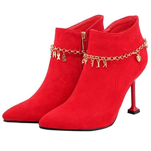 AIYOUMEI Damen Herbst Winter Stiefeletten mit Metalldekoration und Reißverschluss Elegant Ankle Boots rot(5.5cm)