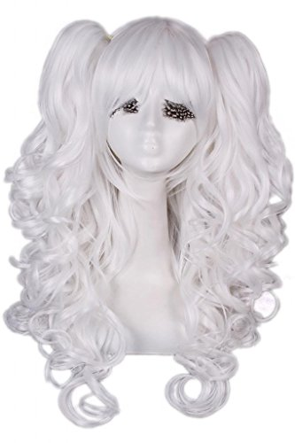 Nouqi Anime Lolita Clip on Ponytails White Cosplay Hair Wig
