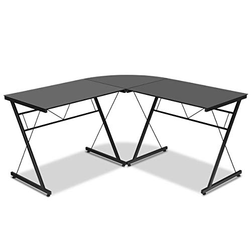 Price comparison product image L-Shape Computer Desk Tempered Glass Laptop Table Home Office Corner Workstation Sturdy and Durable Construction Modern Design Gaming Steel Study Writing Furniture