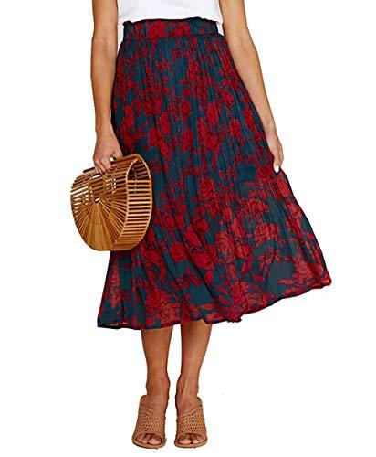 Women's High Waist Fold Over Pocket Shirring Skirt Polka Dot Printed Vintage Skirt - Fold Over Waist Skirt